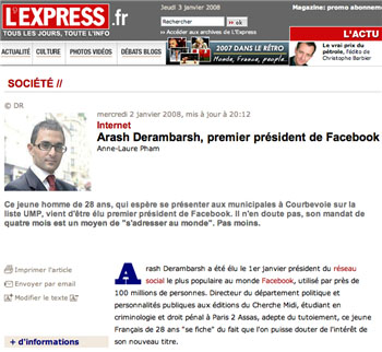 "L""™Express Coverage of Facebook President"