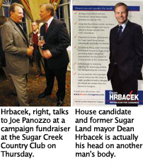 """U.S. House candidate and former Sugar Land mayor Dean Hrbacek\""""™s head on another man\""""™s body"""