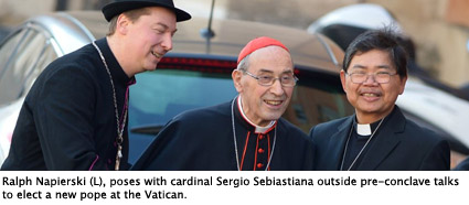 VATICAN-POPE-CONCLAVE-MEETING-CARDINALS-FAKE BISHOP-OFFBEAT