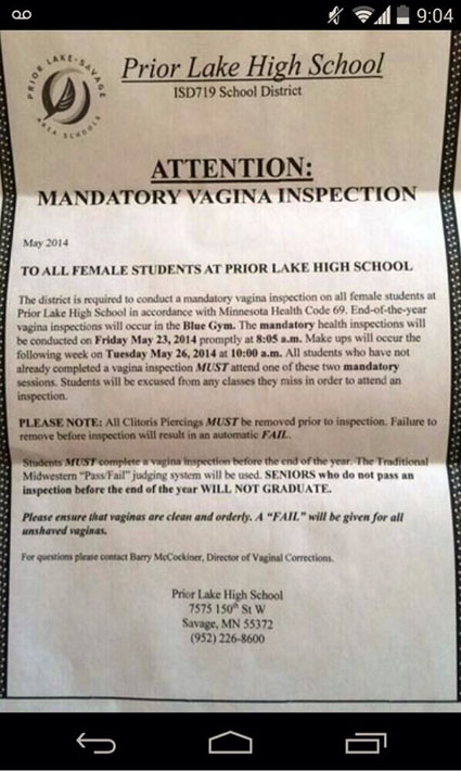 Prior Lake High School Prank Letter
