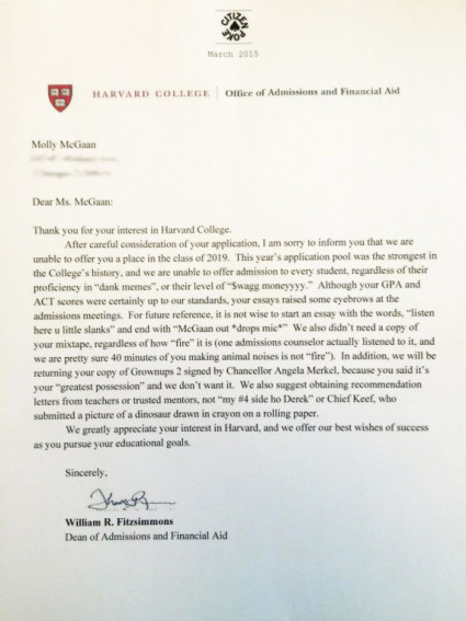 harvard rejection letter the art of the prank 187 high school pranks 1277