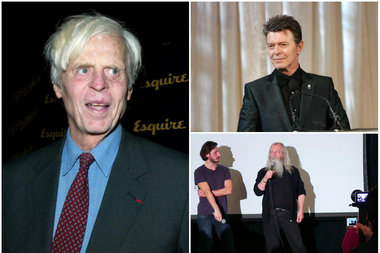 Literary journalist George Plimpton, pop star David Bowie and career prankster Joey Skaggs have all set up hoaxes that fooled the media and the masses. Getty/Evan Agostini, Bryan Bedder; Flickr/Andres Rodriguez
